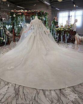 Baljurk Kanten Witte Applique Met Staart Lange Bruidsjurken