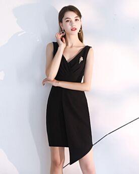 Asymmetrical Black Knee Length Semi Formal Dress Sheath