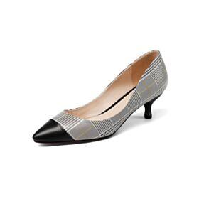 Stilettos Piel Gris Pata De Gallo Tacon De 5 cm Zapatos Con Tacon Trabajo