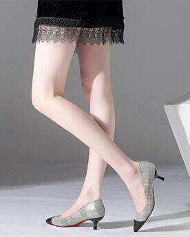 Business Schuhe Damenschuhe Grau Pumps Stilettos Spitz Zeh Houndstooth Klassisch 5 cm Kitten Heels