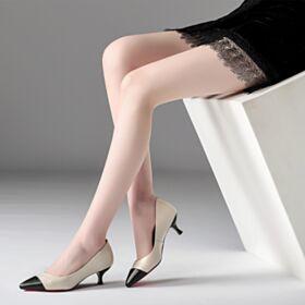 Stilettos Klassisch Business Schuhe Damen Pumps Blockfarben Spitz Zeh