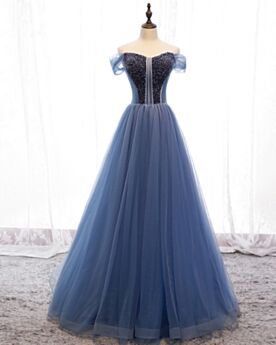 Tulle Short Sleeve Ball Gown Dark Blue Beaded Quinceanera Dresses Long Prom Dress Off The Shoulder Open Back