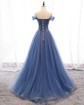 Longue Vintage Tulle Robe De Bal Perlage Dos Nu Epaule Dénudée