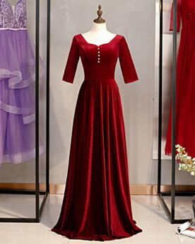 Samt Abendkleid Fallen Perle Lange Modest Burgunderrot