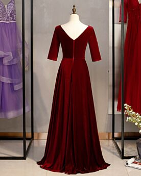Velvet Burgundy Modest A Line 2020 Mother Of Bridal / Groom Dress Half Sleeve Evening Dresses
