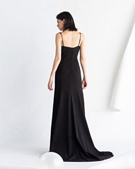 Princesse Élégant Robes De Soirée Noire Dos Nu Décolleté Longue Satin Vintage