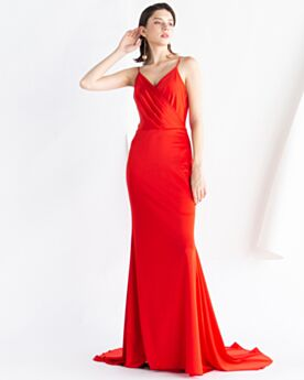Sencillos Vestidos De Noche De Gasa Elegantes Largos Rojos Tirantes