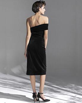 Vestidos Fiesta De Dia Strapless 2020 Negros Terciopelo Espalda Descubierta Vestidos Para Bodas Sencillos Vestidos De Coctail Vintage