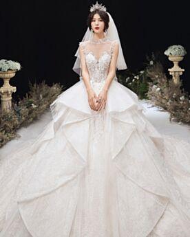 Sequin Glitter Wedding Dress Luxury Ivory Charming Long