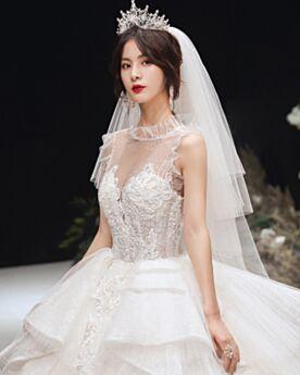 Balze Abiti Da Sposa Eleganti Trasparenti Paillettes Principessa Avorio Glitter Schiena Scoperta