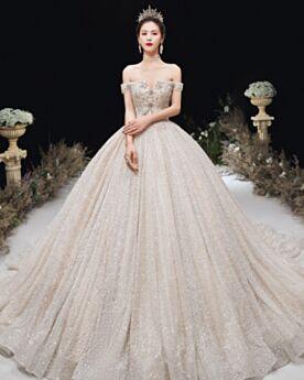 Epaule Dénudée Dos Nu Sequin Luxe Scintillante Champagne Glitter Perlage Robes De Mariée Boule Cristal
