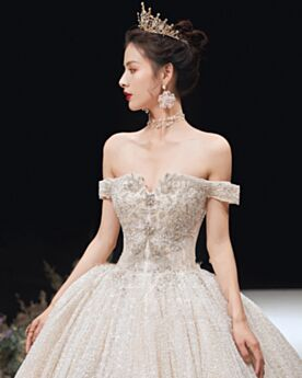 Off The Shoulder With Train Sequin Backless Sparkly Ball Gown Gorgeous Glitter Long Wedding Dresses