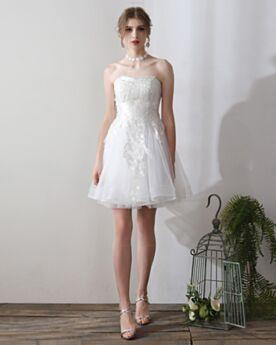 ノースリーブ ホワイト フレア チュール ミニ ウエディング ドレス オープンバック 可愛い 3120230531