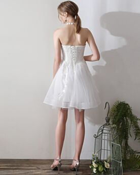 Appliques Fit And Flare Sweetheart White Strapless Sleeveless Simple Open Back Cute Tulle Short Bridal Gown