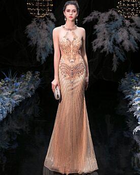 Corte Sirena Vestidos De Noche Elegantes Tul Largos Con Strass Vestidos Para Nochevieja Sin Manga Dorados