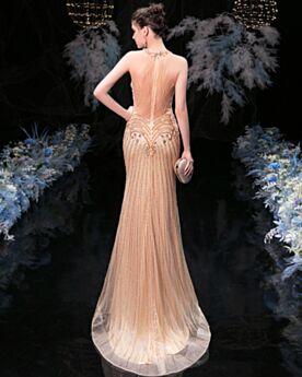 Perlage Sirène Licou Or Robe Nouvel An Longue Belle Brillante Paillette Luxe Robe Ceremonie