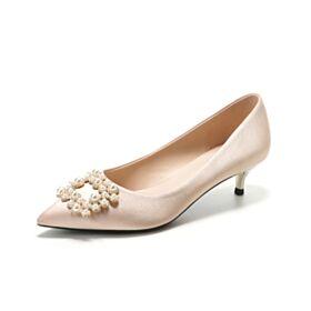 En Punta Fina 2020 Color Champagne Con Perlas Tacones Bajos 3 cm Elegantes Zapatos Mujer