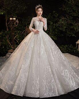Manche Longue Glitter Longue Dentelle Perlage Princesse Dos Nu Luxe Tulle Robe De Mariée
