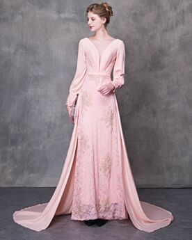 Elegant Lace Backless Long Prom Dresses Plunge Princess Evening Dresses Long Sleeve Tulle