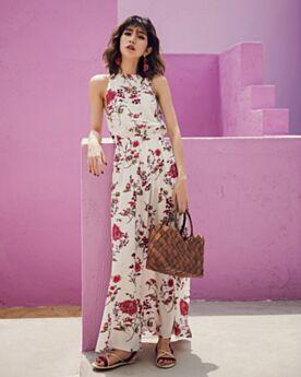 Kleid Gerade Druck Schlichte Rundhalsausschnitt Weiß Sommer Boho Maxi