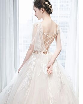 Elegant Plunge Transparent Beading Tulle Lace Open Back Wedding Dress Long Ivory Ball Gown