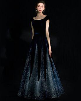 スパンコール プロムドレス ベル ベット ロング フォーマル イブニングドレス エレガント ネイビー オーダーメイドサイズ キラキラ オケー ジョン ドレス 32620180821