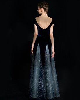 Velvet Sleeveless Evening Dresses Sequin Backless Elegant Prom Dress Sparkly