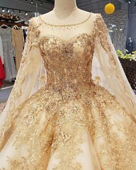 Glitzernden Kirche Transparentes Spitzen Rückenausschnitt Tüll Brautkleider Mit Schleppe Applikationen Luxus Petticoatkleid Lange Ärmel