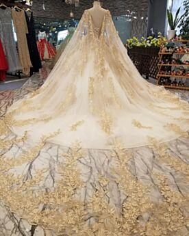 Boule Dentelle Transparente Brillante Manche Longue Dos Nu Dorée Longue Robe De Mariée