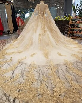 Bridal Gown Appliques Long Long Sleeve Embroidered Backless Ball Gown Luxury Gold Summer See Through Lace Sparkly