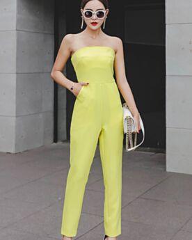 High Waist Gelb Jumpsuits Zigarettenhose Maxi Casual Kleid Rückenausschnitt Sommer Schlichte Bandeau