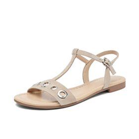 Sandalias Planas Casuales Gamuza Zapatos Playa De Piel Nude