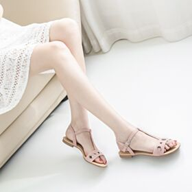 Comfortable With T Strap Blush Pink Suede Flat Sandals For Women