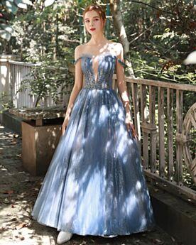 Vestiti Da Ballo Paillettes Lunghi Abiti Per 18 Anni Scollo A Barca Principessa Vestiti Cerimonia Senza Maniche Blu Scuro