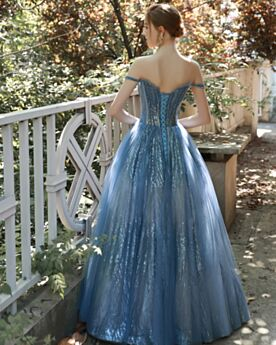 Ball Gown Prom Dress Sequin Off The Shoulder Sweet 16 Dresses Long Low Cut Sparkly
