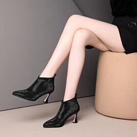 Schwarz Ankle Boots 7 cm Mittel Heel Spitz Zeh Perlen Glitzernden Fallen Stilettos