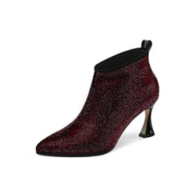 Boots Ankle Boots Beading Burgundy Mid Heel Stilettos Sparkly