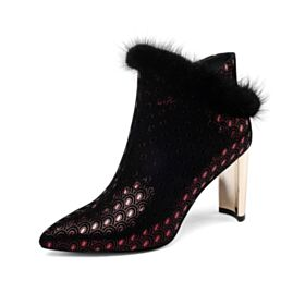Modern High Heels Sequin Ankle Boots Leather Winter Pointed Toe Chunky Heel Burgundy Comfort