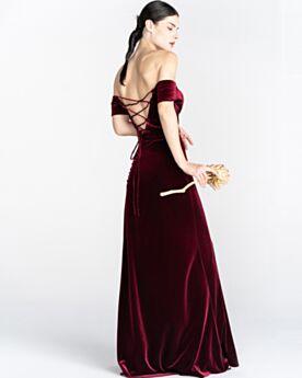 Empire Simple Backless Bridesmaid Dress For Wedding Velvet Off The Shoulder Long Burgundy Evening Dresses Vintage