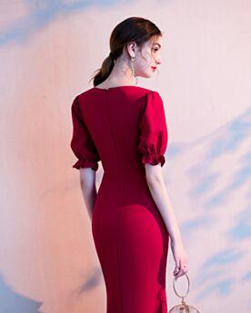 Knee Length Elegant 2020 Sheath Semi Formal Party Dress Cocktail Dress Ruffle Simple