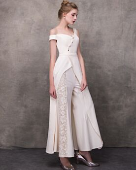 One Shoulder Bridal Jumpsuits Asymmetrical Wedding Reception Dress White Long  Lace Off The Shoulder Sexy Backless