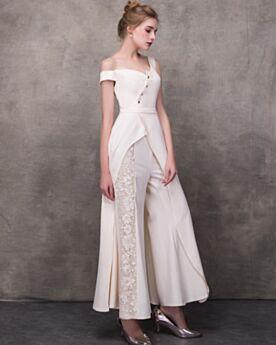 Sommer Lange Sexy 2018 Brautkleid Schulterfreies Spitzen Weiß Braut Jumpsuit Asymmetrisches