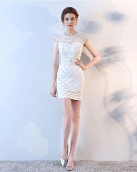 Sleeveless Bohemian Beaded Luxury Sheath See Through Backless Graduation Dresses Cocktail Dress White
