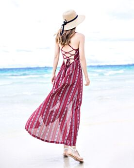 Slip Dress Low Cut Burgundy Maxi Backless Beachwear Floral Sexy Boho Split Dress