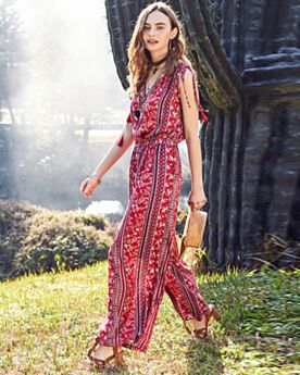 Wide Leg Pants Sleeveless Everyday Dress Summer Red Maxi Floral Jumpsuits Chiffon
