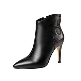 Black Winter High Heel Stilettos Ankle Boots Leather Office Shoes 10 cm / 4 inch Going Out Shoes Boots Classic