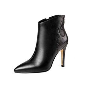 Botas Cortas Tacones Altos 10 cm Stiletto Piel Negros Dia Vestido Para Oficina Clasico En Punta Fina