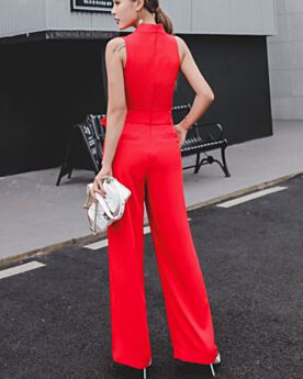 Wrap Simple Wide Leg Pants Sleeveless Work Dress Jumpsuit Long 2019 High Waisted Pants