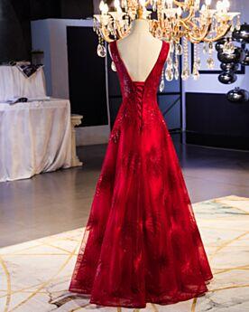 Largos Vestidos De Noche Para Fiesta Linea A Vestidos De Damas De Honor Para Bodas Escote V Pronunciado Vino Elegantes De Encaje