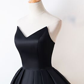 Cocktail Dress Fit And Flare Open Back Satin Semi Formal Dresses Tea Length Bandeau High Low Juniors Simple